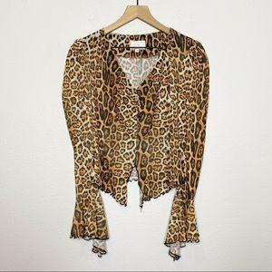 [Alberto Makali] VTG Leopard Animal Print Blouse